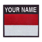 Indonesia Custom Badge Flag Name Embroidered Sew On Patch