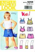 New Look Sewing Patterns 6259 Girls Sizes 1/2 - 4 Shorts Skirt Top Suntop Purse