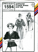Stretch & Sew Pattern 1594 ~ Gathered V-Neck Dress & Top ~ Bust 28-44