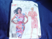 Vintage 1980's McCalls 2519 Faux Wrap Drape Front Dress Pattern Sizes 8-10-12 Uncut