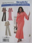 Simplicity Pattern 2979 Khaliah Ali Collection Women's/Women's Petite Jacket, Skirt, Pants Sizes 26W-32W