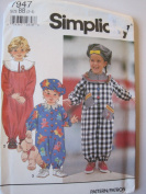 Simplicity Pattern 7947 Toddlers' Jumpsuit and Hat Sizes 2-3-4
