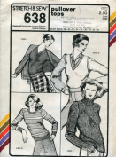 Stretch & Sew Pattern 638 ~ Ladies' Pullover Tops ~ Bust 28-44