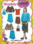 UNCUT & OOP SIMPLICITY 4896 LIZZIE McGUIRE GIRL'S TOPS, SKIRTS & BAG SEWING PATTERN SIZE