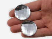 35mm Crystal H102 Flat Back Round Acrylic Jewels High Quality Pro Grade Individually Wrapped - 6/CNT