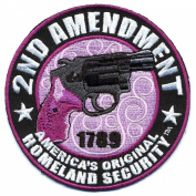 Embroidered Iron On Patch - Ladies 2nd Amendment Homeland Security 8.9cm Patch