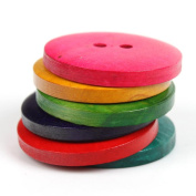 YARUIE 2 Holes Assorted Colour Round Wooden Sewing Buttons Scrapbooking Bulk 20 MM