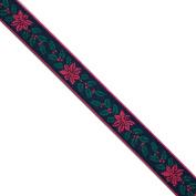 "5 yards 1/2"" WIDE 13mm Flowers Jacquard Ribbon JR149"
