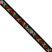 "5 yards 7/16"" WIDE 12mm Flowers Jacquard Ribbon JR283"