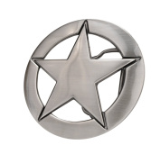 Brushed Metal Western Deputy Ranger Star Badge Belt Buckle