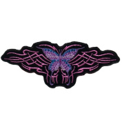 Embroidered Iron On Patch - Tribal Butterfly with Studs 15cm x 5.1cm Biker Patch