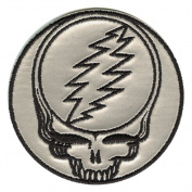 The Grateful Dead Music Band - Silver Steal Your Face Logo Patch