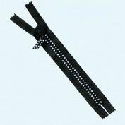 18cm Rhinestone Zippers Closed Bottom ~ Czech Rhinestone Zipper ~ Dual-strand ~ Black