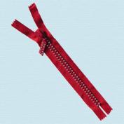 18cm Rhinestone Zippers Closed Bottom ~ Czech Rhinestone Zipper ~ Dual-strand ~ Hot Red