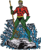 Patch - DC Comic - Aquaman Standing Iron On Licenced Gifts Toys p-dc-0007