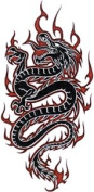 Black Dragon with Flames - Dragons - Iron on or Sew on Embroidered Patch