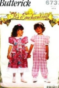 BUTTERICK 6737 *It's Enchanting* Little Girl Dress & Jumpsuit (SIZE 4 5 6) Sewing Pattern