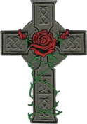 Celtic Cross with Rose - Celtic Art - Iron on or Sew on Embroidered Patch
