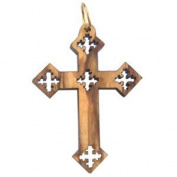 Olive wood Coptic Cross Laser Pendant