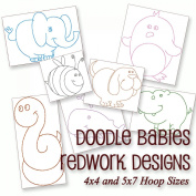 Doodle Babies - Cute Baby Animals Redwork Embroidery Machine Designs on CD - Multiformat