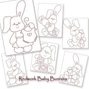 Baby Bunnies Redwork Embroidery Machine Designs on CD - Multiformat