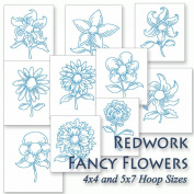 Fancy Flowers Redwork Floral Embroidery Machine Designs on CD - Multiformat