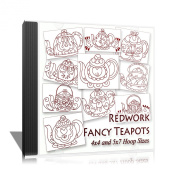 Fancy Teapots Redwork Embroidery Machine Designs on CD - Multiformat