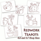 Kitchen Teapots Redwork Tea Time Embroidery Machine Designs on CD - Multiformat