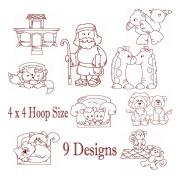 Noahs Ark and Animals Redwork Embroidery Machine Designs on CD - Multiformat