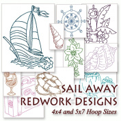 Sail Away Travel Sailing Redwork Nautical Embroidery Machine Designs on CD - Multiformat