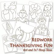Thanksgiving Fun - Turkey, Pumpkin, Pilgrims and more! Redwork Embroidery Machine Designs on CD - Multiformat