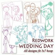 Wedding Day Redwork Embroidery Machine Designs on CD - Multiformat