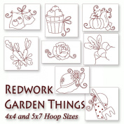 Whimsical Garden Things Redwork Embroidery Machine Designs on CD - Multiformat