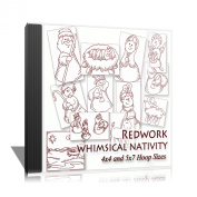 Whimsical Nativity Redwork Embroidery Machine Designs on CD - Multiformat