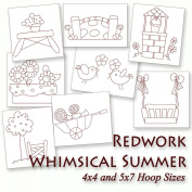 Whimsical Summer Things Redwork Machine Embroidery Designs on CD