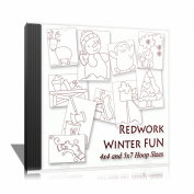 Winter Fun Redwork Embroidery Machine Designs on CD - Multiformat