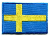 Flag of Sweden Swedish Applique Iron-on Patch Med S-97 Cute Gift to Your Cloth.