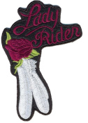 Leather Supreme Purple Lady Rider Rose And Feathers Embroidered Biker Patch