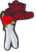 Leather Supreme Red Lady Rider Rose And Feathers Embroidered Biker Patch