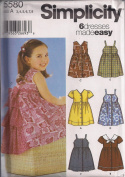 Simplicity 5580 Girl's Dresses in 6 styles, Size A 3 4 5 6 7 8