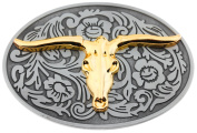 Oval Gold Colour Bull Head Black Background Belt Buckle
