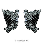 IRELAND HARP WINGED MAIDEN ERIN SILVER METALLIC EMBROIDERED TWO PATCH SET IRISH HERITAGE