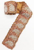 7.6cm x 80cm Indian Hand Beaded & Sequin Paisley Design Copper Antique Trim with Satin Backing