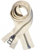 90cm Jacket Zipper YKK #5 Nickel Separating ~ 90cm 100% Cotton Tape Zipper - Natural