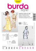 BURDA 7113 DRESS, JACKET, CAPE (SIZE 10-18) SEWING PATTERN