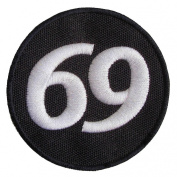 Leather Supreme Number 69 Circle Embroidered Biker Patch