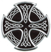 Celtic Cross Irish goth tattoo druids wicca pagan Appliques Hat Cap Polo Backpack Clothing Jacket Shirt DIY Embroidered Iron On / Sew On Patch #5