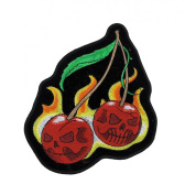 Wild Cherries Flaming Cherry Motorcycle Patch Biker