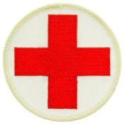 USA Emergency Services Embroidered Iron on Patch - Emergency Medical Technician Collection - Red Cross Logo W/white Background Applique