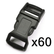 "Blue Elf 60 PCS 1/2"" (13mm) Black Contoured Side Release Plastic Buckles with Free Cable Organiser"